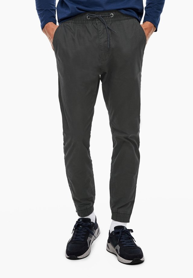 BROEK VAN DOBBY - Trousers - charcoal