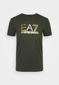 Print T-shirt - olive/gold