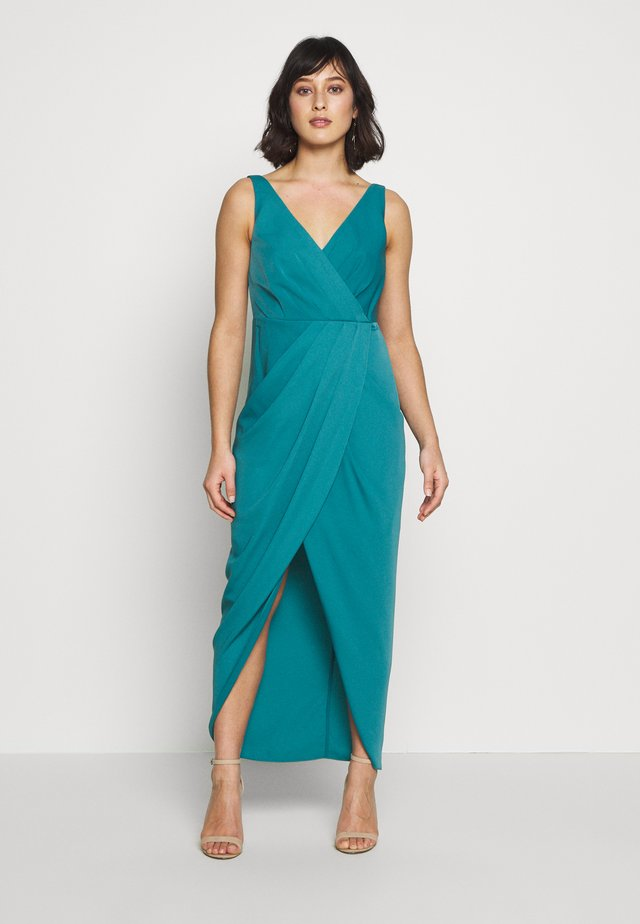 VICTORIA WRAP DRESS PETITE - Gallakjole - teal