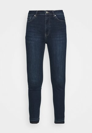 SKINNY HIGH WAIST OPEN HEM - Jeans Skinny Fit - dark blue