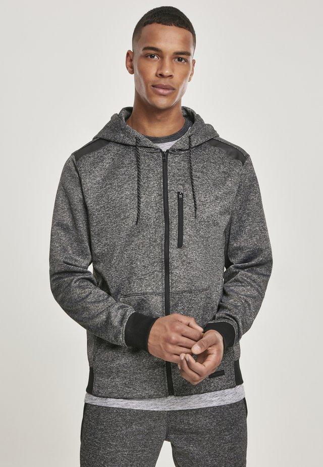 HERREN MARLED TECH FLEECE FULL ZIP HOODY - veste en sweat zippée - marled black