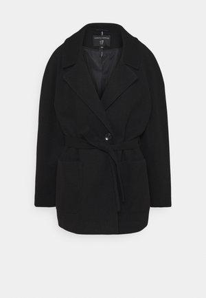 SHORT WRAP BELTED COAT - Classic coat - black