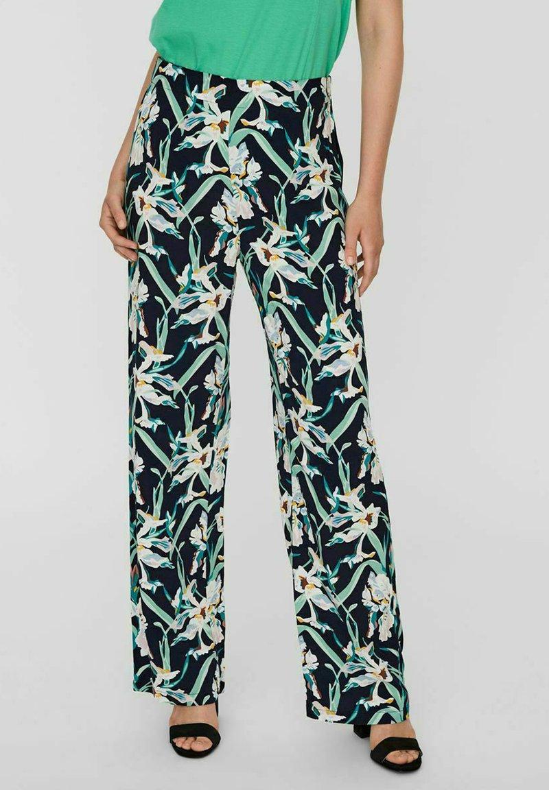 Vero Moda - VMSIMPLY EASY WIDE PANT - Trousers - navy blazer