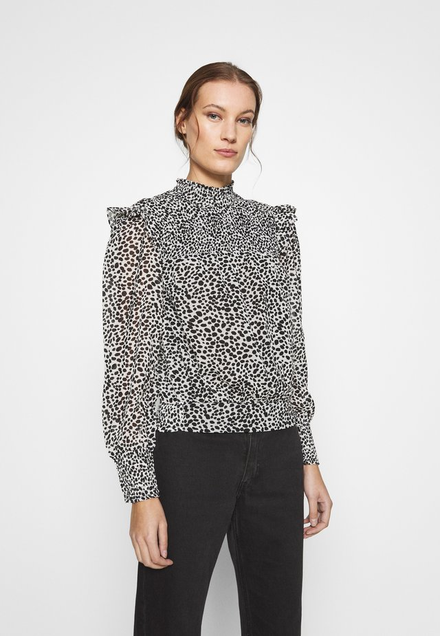 TIE BACK DALMATION LONG SLEEVE - Blouse - black/white