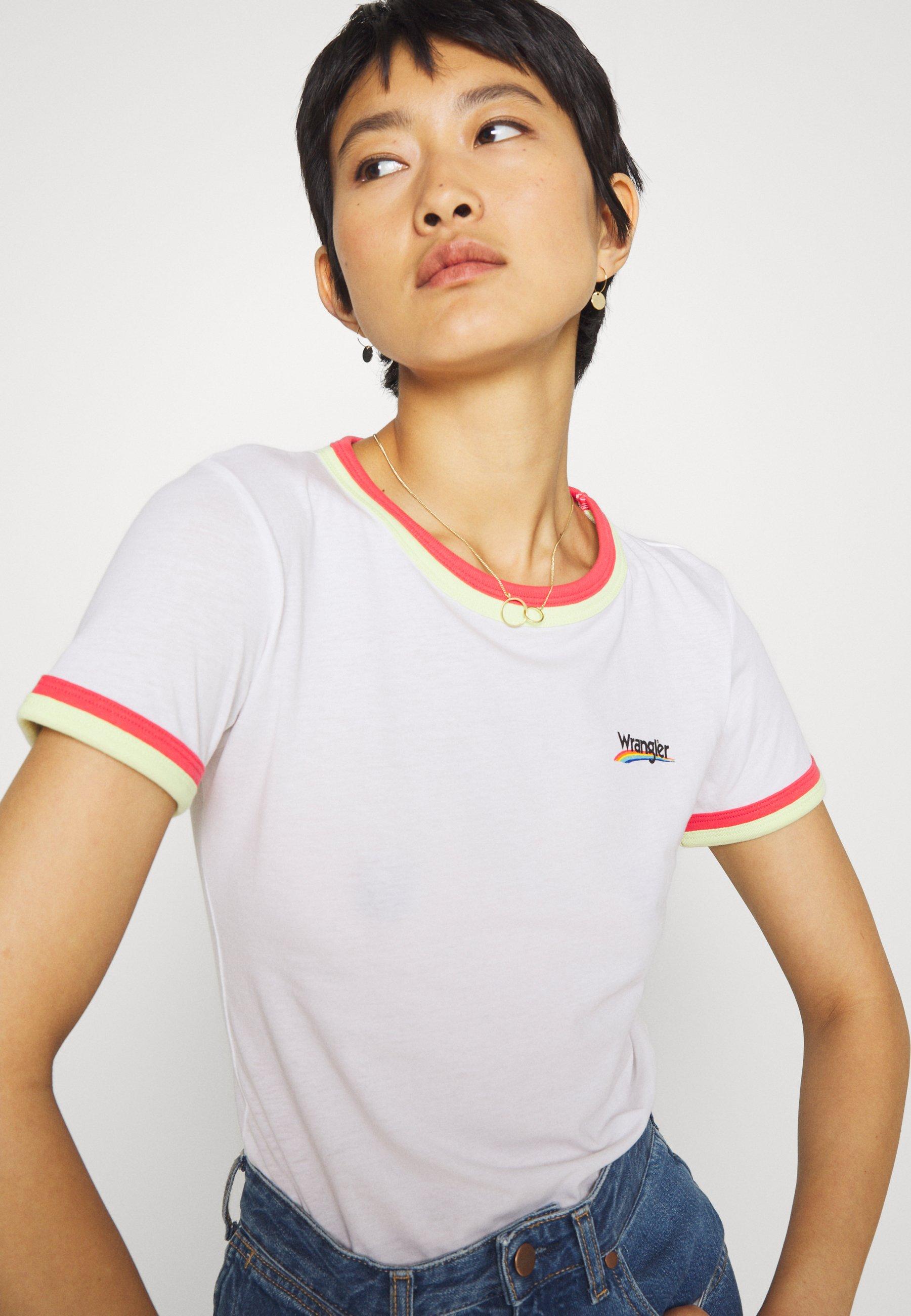 Wrangler Double Ringer Tee - T-shirts Med Print White/hvit