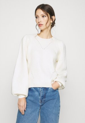 NMLUKE O NECK  - Strikkegenser - white
