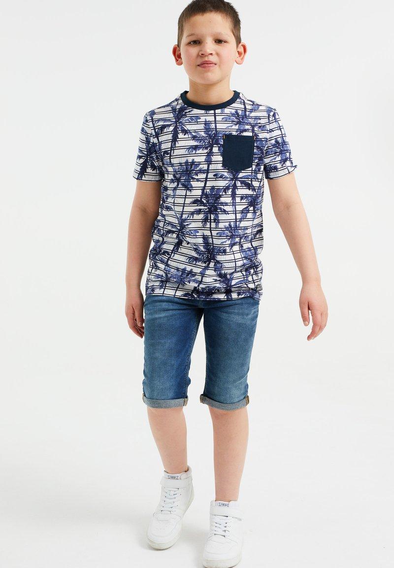 WE Fashion - MET STREEP- EN PALMBOOMDESSIN - Print T-shirt - blue