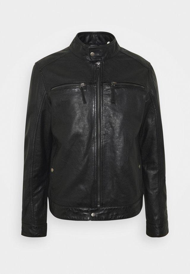 GILLES - Veste en cuir - noir