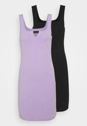2 PACK - Vestito di maglina - black/lilac