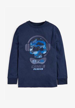 SEQUIN SKULL - Long sleeved top - blue