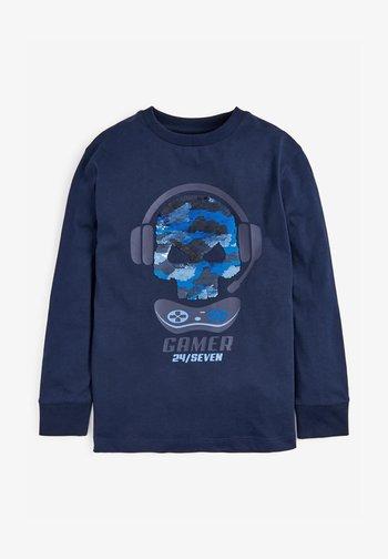 SEQUIN SKULL - Maglietta a manica lunga - blue
