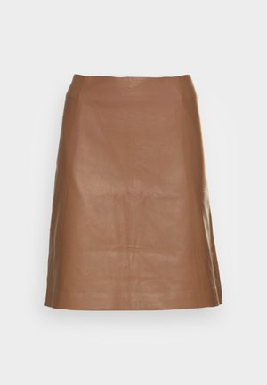 LIANA - Leather skirt - hazelnut