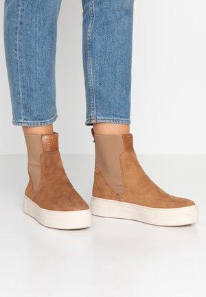 MARIE - Platform ankle boots - cognac