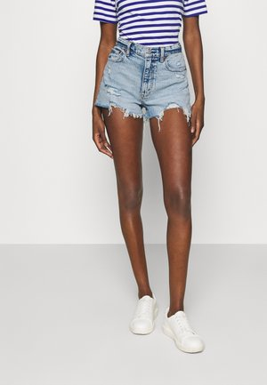 MOM DESTROY - Denim shorts - light-blue denim