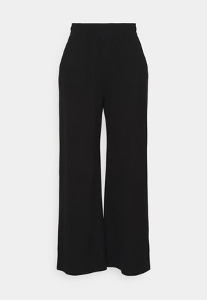 PLUS WIDE LEG WAFFLE TROUSER - Trousers - black
