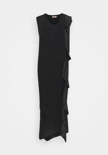 ABITO LUNGO A COSTE CON E ROUCHES - Shift dress - nero