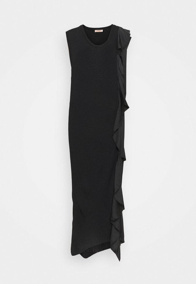 ABITO LUNGO A COSTE CON E ROUCHES - Sukienka etui - nero