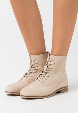 LEATHER - Lace-up ankle boots - beige