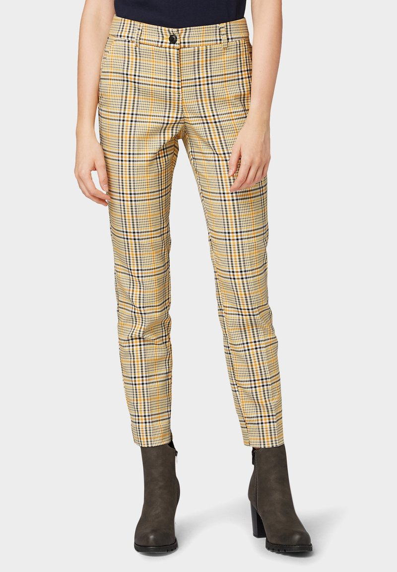 TOM TAILOR - MIA - Trousers - black yellow small check