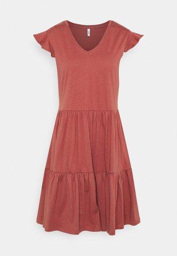 ONLMAY LIFE CAP SLEEVES FRILL DRESS - Jersey dress - apple butter