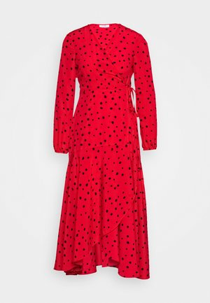 CORAL SPOT WRAP MIDI - Day dress - red