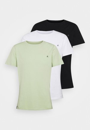 CREW TEE 3 PACK - T-shirt basic - white/black/pastel pistacio