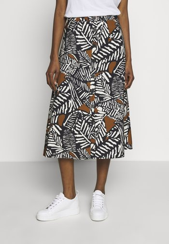 PRINTED MIDI SKIRT WITH BUTTONS