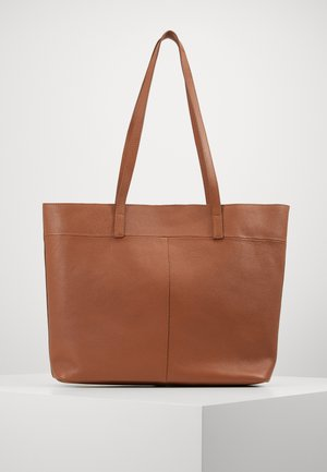 LEATHER - SHOPPING BAG / POUCH SET - Shopping bags - cognac