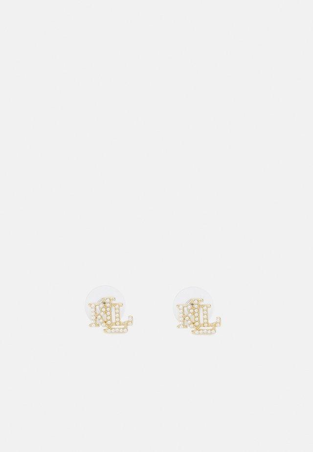 LOGO STUD - Boucles d'oreilles - gold-coloured/white