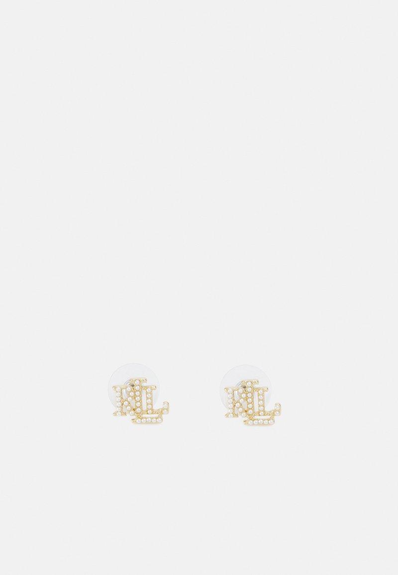 Lauren Ralph Lauren - LOGO STUD - Kolczyki - gold-coloured/white