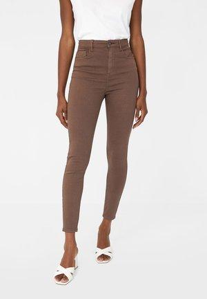 MIT SUPERHOHEM BUND  - Jeans Skinny Fit - anthracite/brown