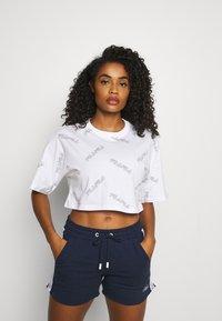 Fila - JAMILIA WIDE CROPPED TEE - Print T-shirt - bright white - 0