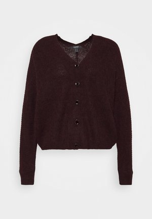 V NECK CARDIGAN - Cardigan - bordeaux red