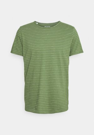 SLHMORGAN STRIPE O NECK TEE - Triko s potiskem - vineyard green/egret