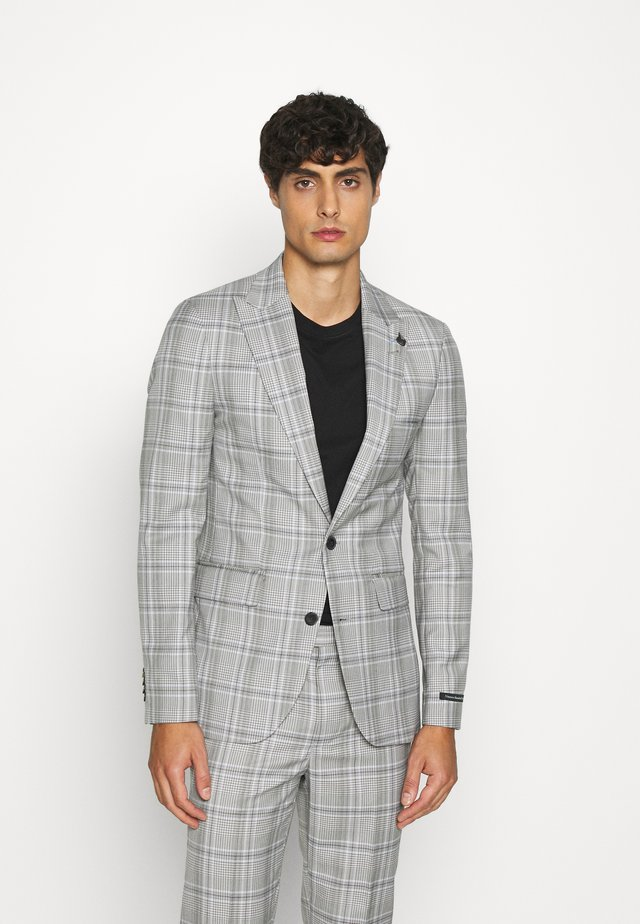 LARGE GRID CHECK JACKET SKINNY - Suit jacket - mid grey
