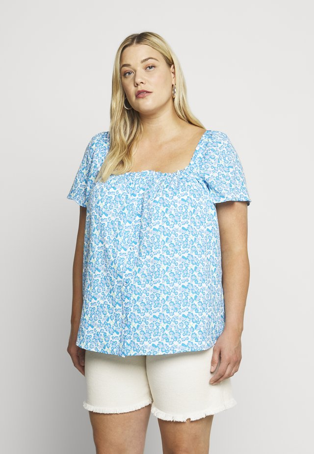 BEANA - Blouse - blue/white