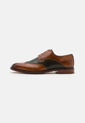 RANGER - Smart lace-ups - cognac/dark green