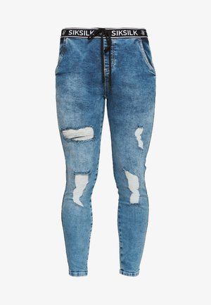 ELASTICATED WAIST DISTRESSED - Jeans Skinny Fit - midstone blue