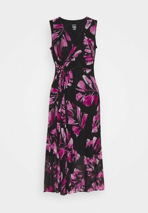 V-NECK WRAP WITH U-SHAPED HARDWARE - Day dress - black/new berry/multi