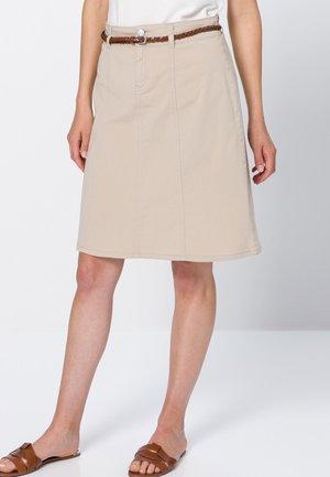 MIT FLECHGÜRTEL - A-line skirt - beige