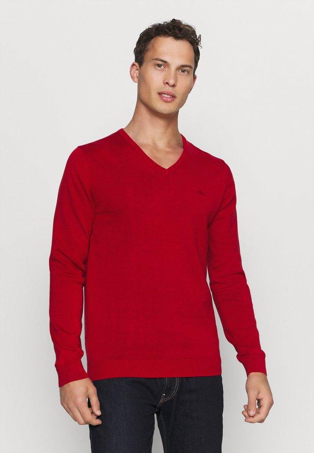LANGARM - Strickpullover - dark red