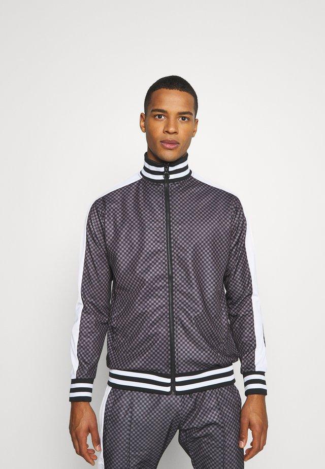 veste en sweat zippée - grey/black check