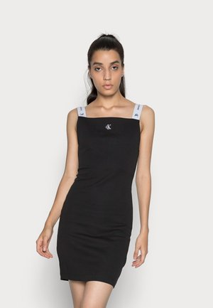 STRAP SQUARE NECK DRESS - Shift dress - black