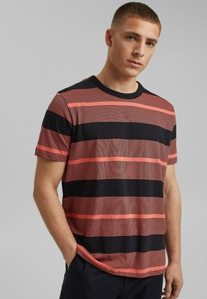 STRIPED  - Print T-shirt - coral red