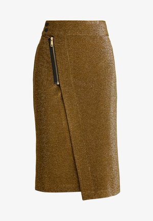 MIDI SKIRT WITH ZIPPER - A-line skirt - olive