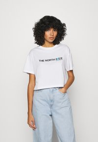 The North Face - LETTER TEE - T-shirts med print - white/black/ethereal blue - 0