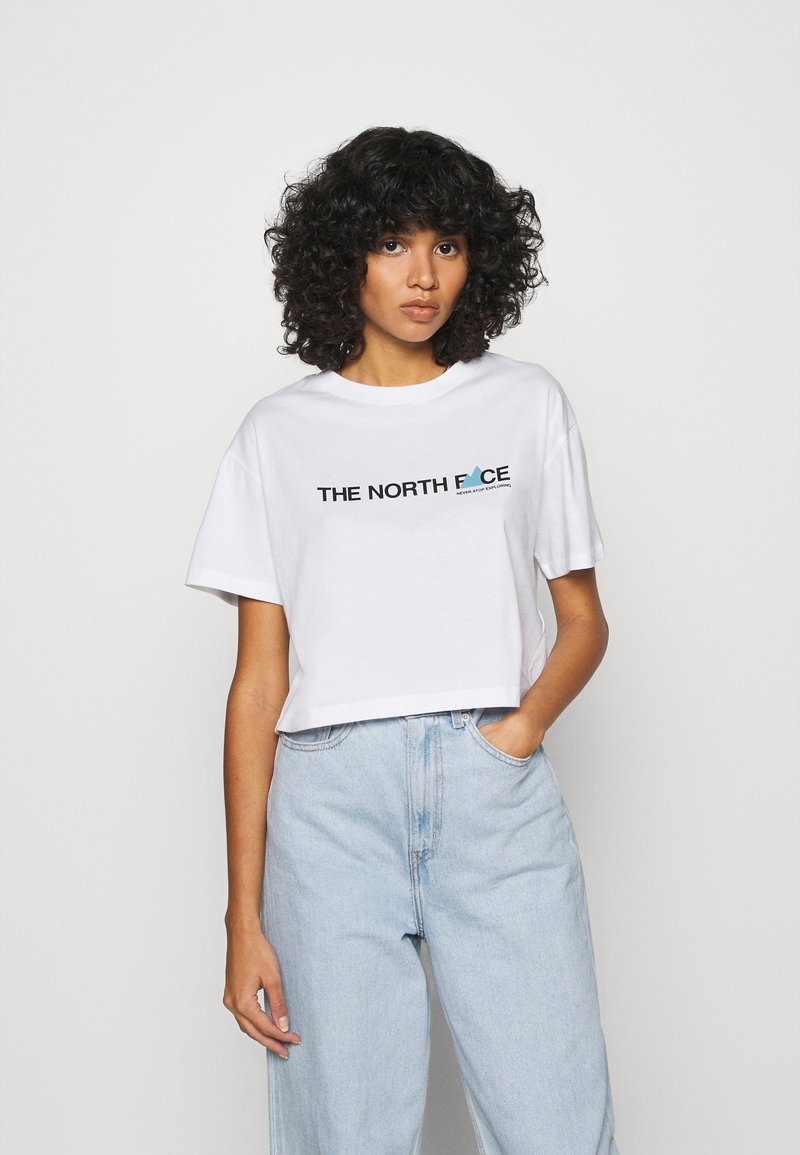 The North Face - LETTER TEE - T-shirts med print - white/black/ethereal blue