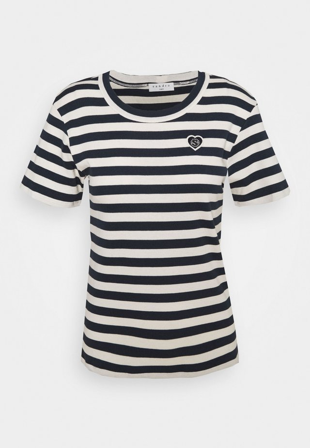 CHRISTOPHE - T-shirts med print - marine/ecru