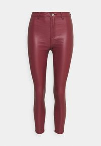 Missguided Petite - VICE HIGH WAISTED COATED SKINNY - Trousers - burgundy - 0
