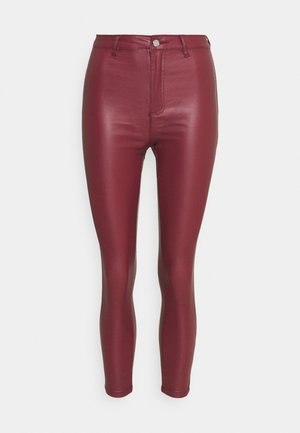 VICE HIGH WAISTED COATED SKINNY - Trousers - burgundy